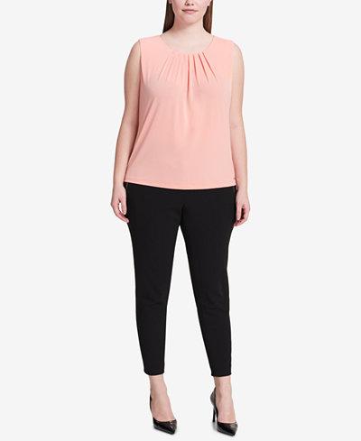 Calvin Klein Plus Size Pleated Shell