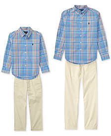Ralph Lauren Plaid Shirt & Suffield Pants, Toddler Boys & Big Boys