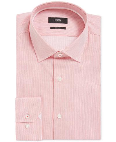 BOSS Men's Regular/Classic-Fit Striped Cotton Dress Shirt