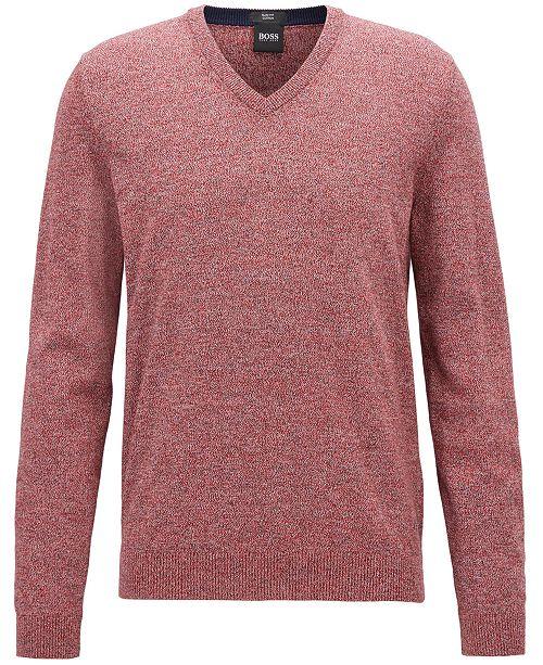 Hugo Boss BOSS Men's Cotton V-Neck Sweater - Sweaters - Men