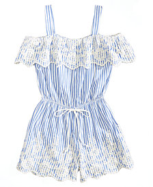 Monteau Embroidered Striped Romper, Big Girls
