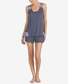 Layla Ruffle-Hem Contrast-Print Boxer Pajama Set