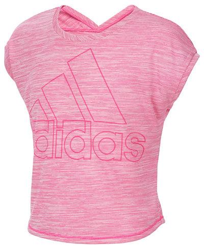 adidas Logo-Print Space-Dyed Cropped T-Shirt, Big Girls