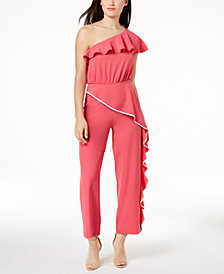 XOXO Juniors' Ruffled One-Shoulder Jumpsuit