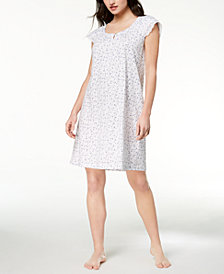 Charter Club Cotton Flutter-Sleeve Lace-Trim Nightgown, Created for Macy's