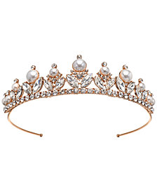 Jewel Badgley Mischka Rose Gold-Tone Crystal & Imitation Pearl Tiara