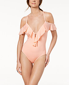 Kenneth Cole Ready to Ruffle Off-The-Shoulder One-Piece Swimsuit