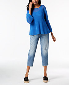 Eileen Fisher Round-Neck Top, Silk Camisole & Cropped Tapered Jeans