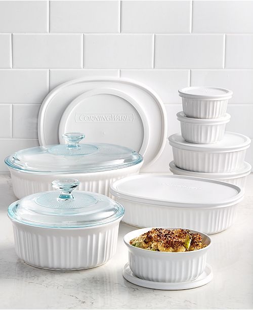 Corningware French White 18 Piece Bakeware Set