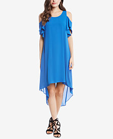 Karen Kane Ruffle Cold-Shoulder High-Low Dress