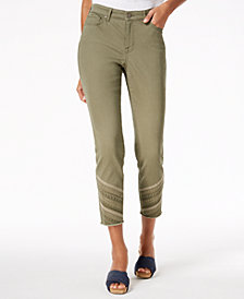 Style & Co Embroidered Curvy Skinny Jeans, Created for Macy's