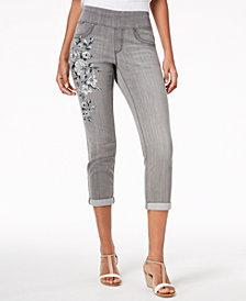 Style & Co Petite Floral-Graphic Pull-On Boyfriend-Fit Ankle Jeans, Created for Macy's