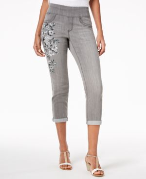 Style & Co Petite Floral-Graphic Pull-On Boyfriend-Fit Ankle Jeans, Created for Macy's 5966479