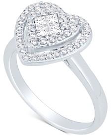 Diamond Heart Cluster Ring (1/2 ct. t.w.) in 14k White Gold