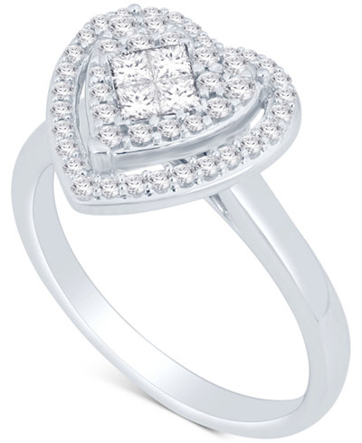 Diamond Heart Cluster Ring (1/2 ct. t.w.) in 14k White Gold
