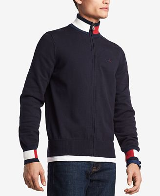 Tommy Hilfiger Mens Complex Front Zip Sweater Created For Macys