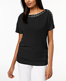 JM Collection Grommet-Trim Ruched Top, Created for Macy's