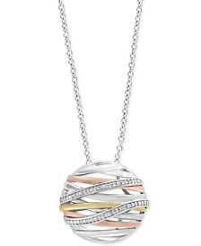 """Balissima by EFFY® Diamond Openwork Orb 18"""" Pendant Necklace (1/6 ct. t.w.) in Sterling Silver, 18k Gold & 18k Rose Gold"""
