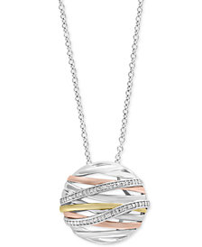 "Balissima by EFFY® Diamond Openwork Orb 18"" Pendant Necklace (1/6 ct. t.w.) in Sterling Silver, 18k Gold & 18k Rose Gold"