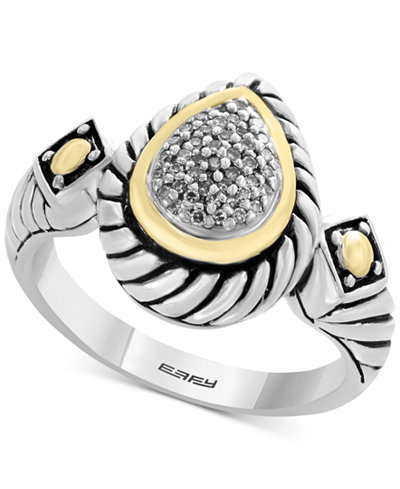 Balissima by EFFY® Diamond Two-Tone Ring (1/10 ct. t.w.) in Sterling Silver & 18k Gold