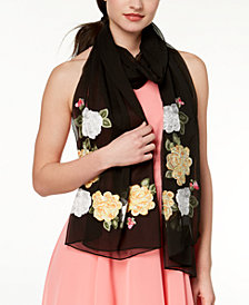 I.N.C. Flower Vine Embroidered Scarf, Created for Macy's