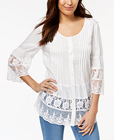 Style & Co Tiered-Lace Shirt, Created for Macy's