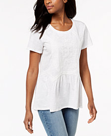 Style & Co Embroidered Mesh Top, Created for Macy's