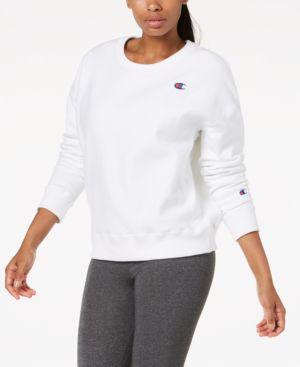 Essential Reverse Weave Fleece Sweatshirt in White