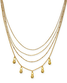 "I.N.C. Gold-Tone Pineapple & Imitation Pearl Bead Multi-Row Necklace, 15"" + 3"" extender, Created for Macy's"
