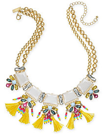"I.N.C. Gold-Tone Stone, Crystal & Tassel Statement Necklace, 18"" + 3"" extender, Created for Macy's"