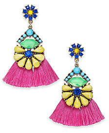 I.N.C. Gold-Tone Multi-Stone Flower & Tassel Drop Earrings, Created for Macy's