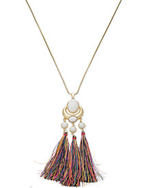 "Trina Turk x I.N.C. Gold-Tone Stone & Tassel 30"" Pendant Necklace, Created for Macy's"