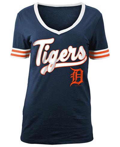 5th & Ocean Women's Detroit Tigers Retro V-Neck T-Shirt