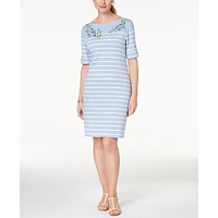 Karen Scott Embroidered Striped Dress Deals