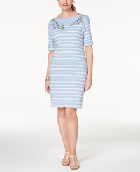 Karen Scott Embroidered Striped Dress