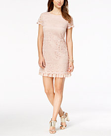 Vince Camuto Lace Ruffled-Hem Dress