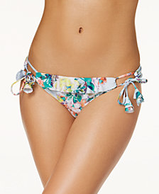 Becca Femme Printed Ruffled Side-Tie Bikini Bottoms
