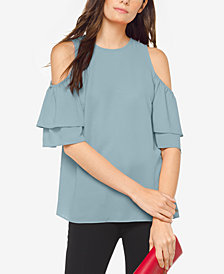 MICHAEL Michael Kors Cold-Shoulder Flounce Top, Regular & Petite, Created for Macy's