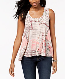 Style & Co Sleeveless Printed High-Low Top, Created for Macy's