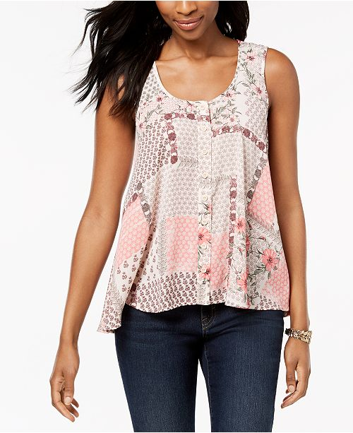 Sleeveless Printed High-Low Top, Created for Macy's