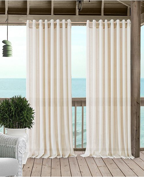 Elrene Carmen Sheer 114 X 108 Extra Wide Indoor Outdoor Grommet Curtain Panel With Tieback
