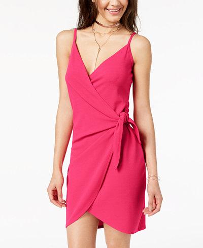 Almost Famous Juniors' Spaghetti-Strap Wrap Dress