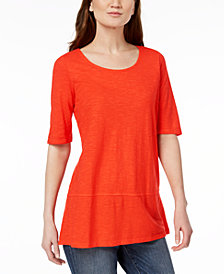 Eileen Fisher Organic Cotton Blend Elbow-Sleeve Tunic, Created for Macy's