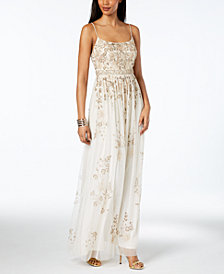 Adrianna Papell Sequined Spaghetti-Strap Gown