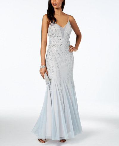Adrianna Papell Beaded Mesh Low-Back Gown