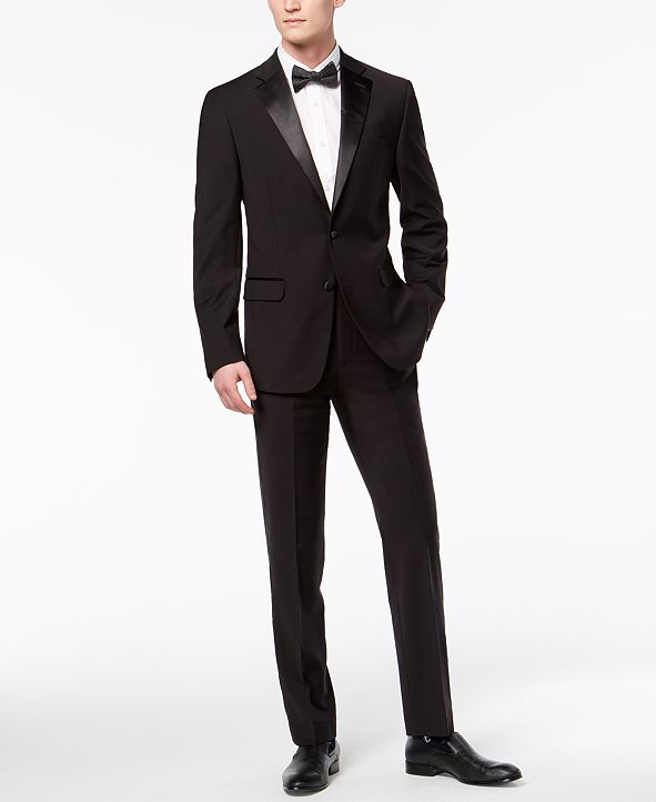 Calvin Klein Men's X-Fit Slim-Fit Infinite Stretch Black Tuxedo Suit Separates