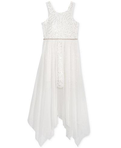 Crystal Doll Maxi Overlay Sequin Dress, Big Girls