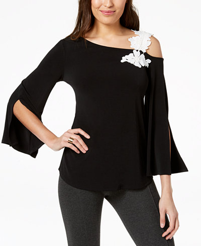 Alfani One-Shoulder Appliqué Top, Created for Macy's