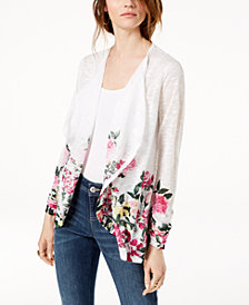 I.N.C. Floral-Hem Cardigan, Created for Macy's