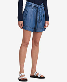 DKNY Belted Tencel Shorts